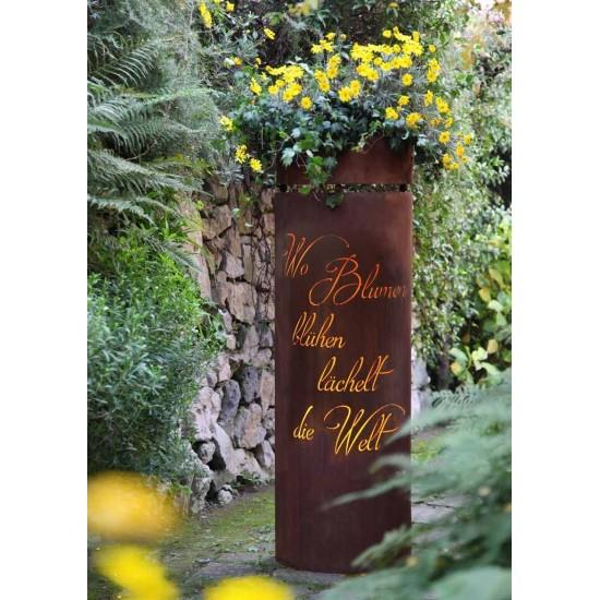 """Edelrost Säule halbrund Emerson Zitat """"Wo Blumen blühen lächelt die Welt"""" 150 cm Rostsäule Corten"""