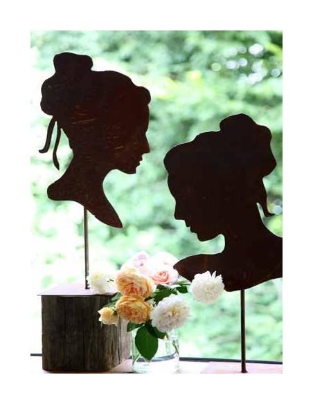 Edelrost Büste als Silhouette im Profil - auf Platte 50 cm
