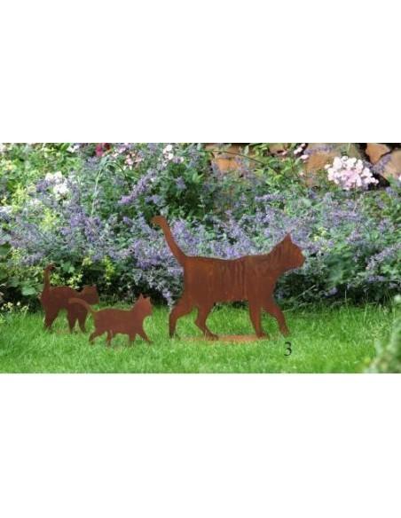Rost Katze gehend auf Platte - rostige Gartendeko Dekokatze aus Metall