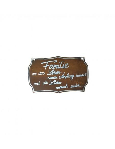 Tafel -Familie- ohne Beschriftung, 25cm hoch Schild edelrost