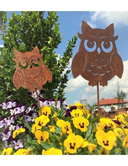 Edelrost Tiefriguren Kauz, oder Eule Gartenstecker für Blumenbeet Metallmichl Geschenkidee für Eulensammler