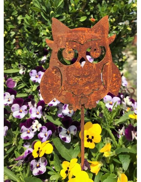 Edelrost Kauz, oder Eule, Höhe 10cm, auf Stab 50cm Dekoeule aus Metall für Gartendeko Rost
