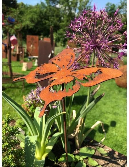 filigraner Schmetterling Gartenstab aus Metall Rostig  Corten-A Corten-B