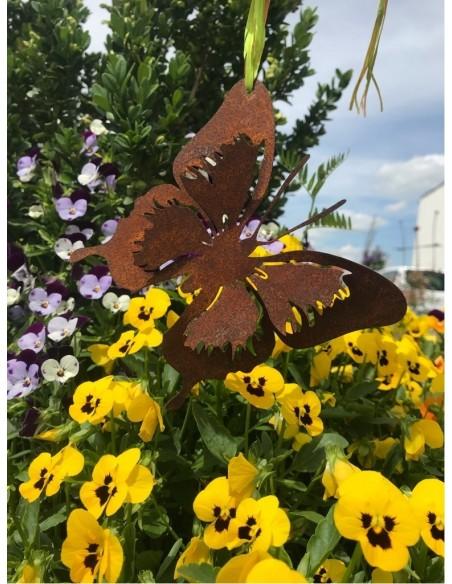 filigraner Edelrost Schmetterling als Gartendeko 12x 12 cm zum Hängen oder Einarbeiten und Festschrauben