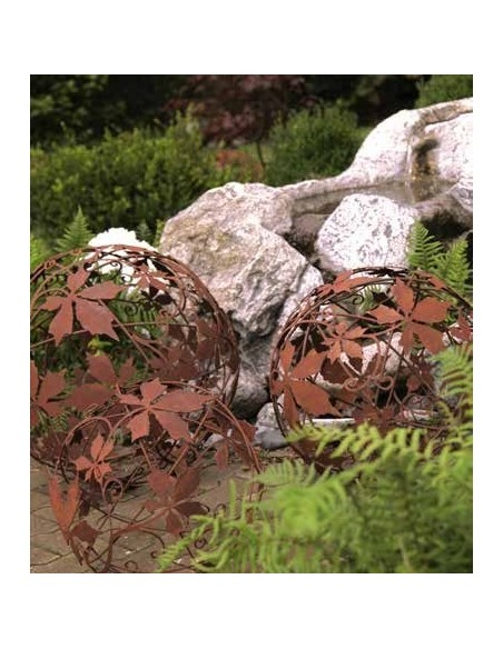 Dekokugel Rostig Motiv Wilder Wein Kugel d 40cm Gartendeko Kugel aus Metall Edelrost