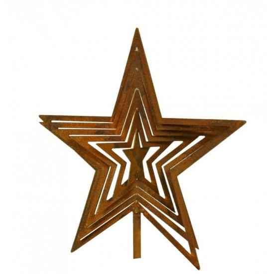 H 20 cm Edelrost Stern mit Barockmuster