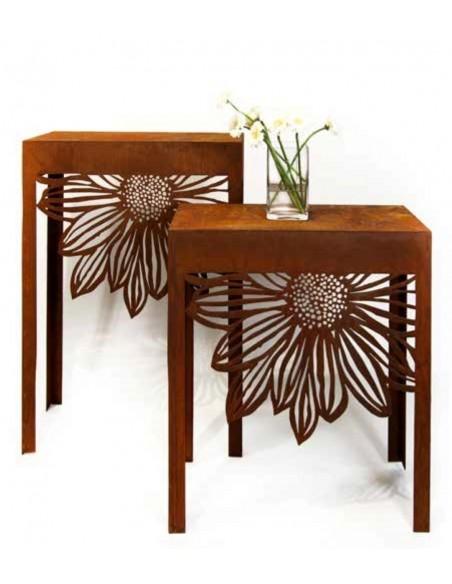 Rost Deko Tisch Gartenmöbel aus Metall mit Blumenmuster