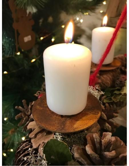 Kerzenteller für Adventskranz aus Metall Kerzenhalter Edelrost Gesteck Teelichthalter