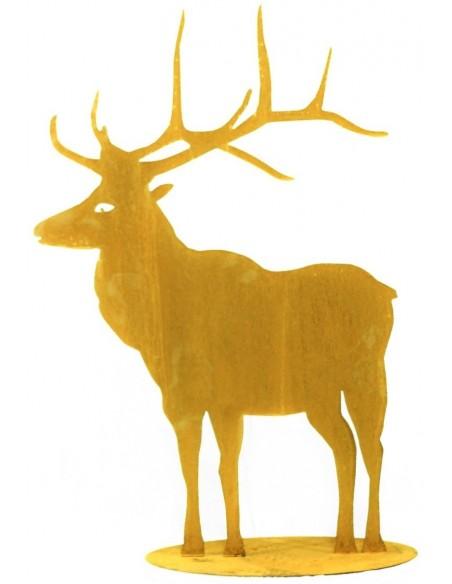 Deko Hirsch aus Edelrost nach vorne schauend - Höhe 98 cm - auf Standplatte