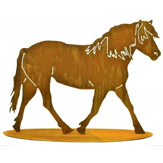 Edelrost Pferd auf Platte zum Stellen - Höhe 50 cm, Breite 65 cm