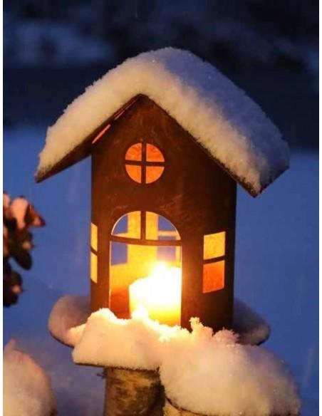 Rost Vogelhausals Windlicht oder Lichthaus beleuchter zur Winterdeko aus edelrost