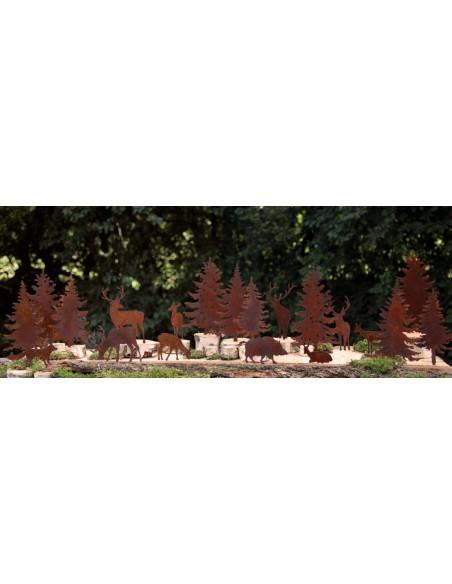 Metall Tiere zum Basteln Hirsch und Bäüme Minigarten mit Waldttieren aus Rost