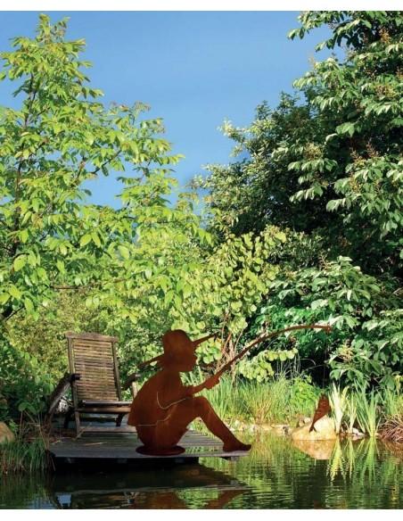 Deko Angler aus Metall Gartenstecker Anglerfigur Rost Manni Saremo