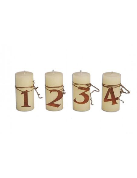 Kerzen Zahlen 1 - 4 für Adventskranz