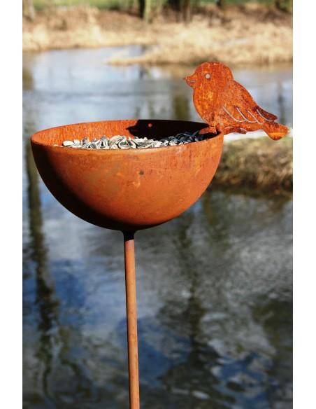 Vogeltränke frostsicher aus Metall mit Vogelfutter befüllt Gartenstecker winterfest