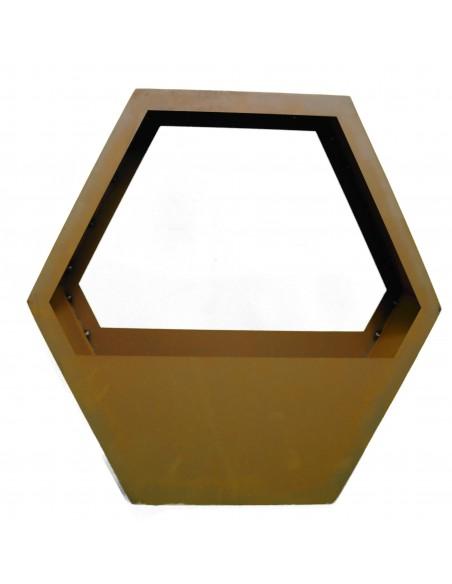 sechseckige Deko Pflanzschale für Bienengarten aus Metall als Sichtschutz in Wabenform
