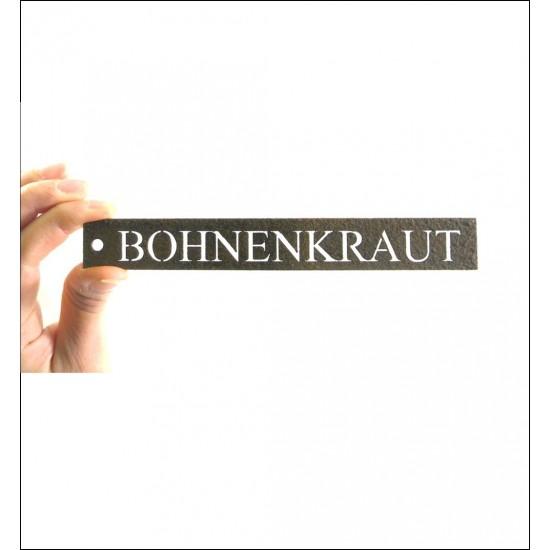 Kräuterschild Metall Bohnenkraut - Kräuterstecker rost - Kräuterschilder für Küchenkräuter und Kräutergarten
