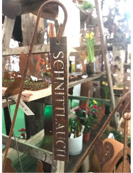 """Kräuterschild """"Schnittlauch"""" - Kräuterschilder aus Metall, Pflanzenschilder aus Edelrost"""
