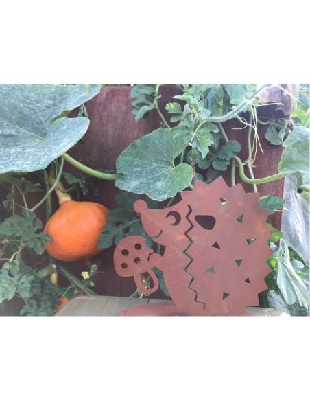 Rost Igel mit Pilz klein, Tiere aus Metall, Tierfiguren, Wildtiere aus Edelrost, lustige Tiere für den Garten, Gartenfiguren