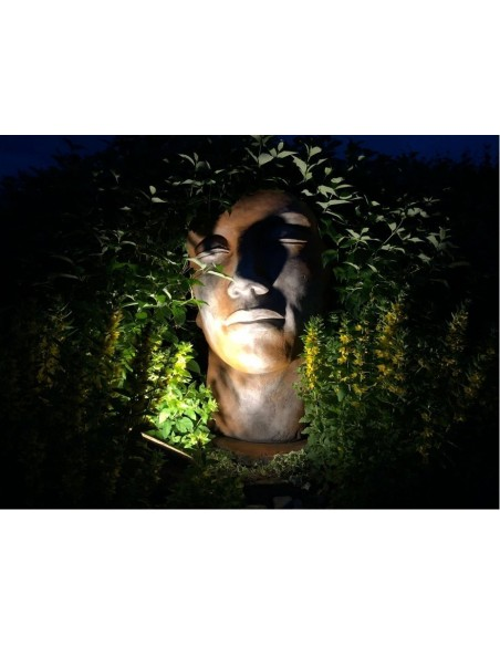 Steinguss Kunstobjekt Gesicht Mann Rosteffekt Steingesicht Deko aus Stein Gartendeko XXL