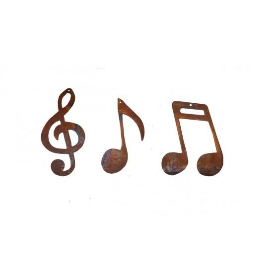 Musiknote Metall und Notenschlüssel als Deko