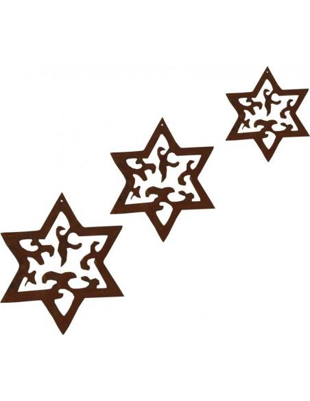 Weihnachtsbaumschmuck und Christbaumschmuck 3 tlg. Edelrost Sternenkette -Madeira- Weihnachtsbaumschmuck Set ungefädelt Sternenk