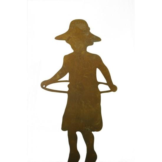 Deko Edelrost Figur Mädchen -Jana- mit Hula Hoop Gartenfiguren Menschfigur lebensgroß Kinderfiguren Metalldeko Außendeko