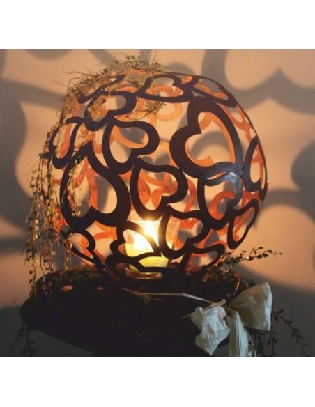 Rostdeko zum Beleuchten Herzkugel Ø 40 cm - Deko Kugel aus geschweißten Herzen Durchmesser 40 cm unten kreisförmig offen, damit