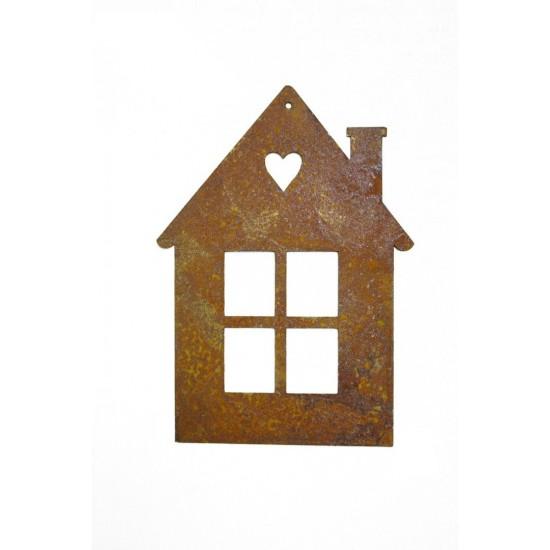 Wandbild Metall kleines Haus mit Herz online kaufen