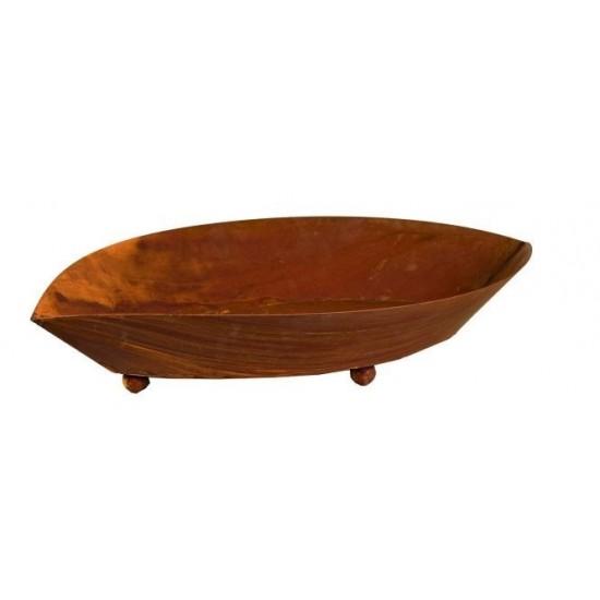 Rost Pflanzschale oval aus Metall Rostige Gartendeko