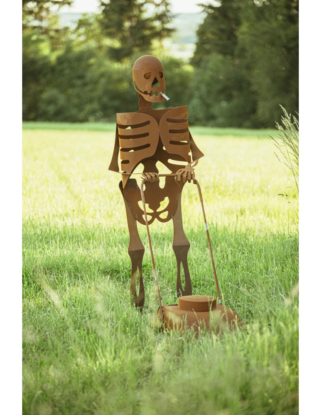 Halloween Skelett Mit Rasenmaher Deko Skelett Lebensgross Hohe 173 Cm