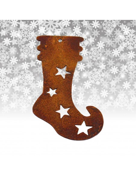 Gartendeko Rost Christbaumschmuck Socke / Stiefel 8 cm in Edelrost Edelrost