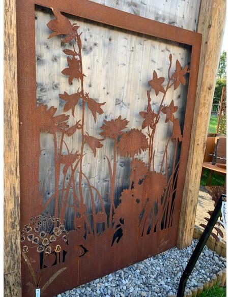 """Wiesenmotiv """"A"""" Abtrennung aus 3mm Stahl ohne Umrandung, Gartendeko, Trennwand, Blumenmotiv"""
