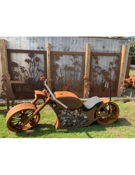 Wiesenzäune, Trennwände, Gesamtbild, Motiv A B und C, Metalldeko, Sichtschutzwände mit Motorrad