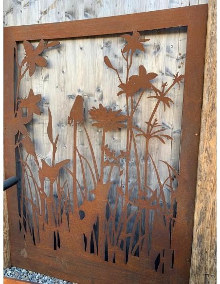 """Wiesenmotiv """"B"""" Abtrennung , Trennwand mit Blumenmotiv, Filigran, Gartendeko, Sischtschutz, Wand aus Metall"""