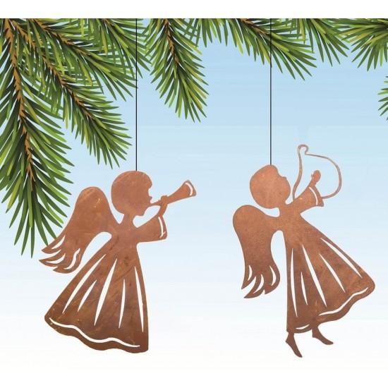 Weihnachtsbaumschmuck und Christbaumschmuck 2 tlg. Set Edelrost Engel - Christbaumschmuck ungefädelt-  Set 2 tlg. Set Edelrost E