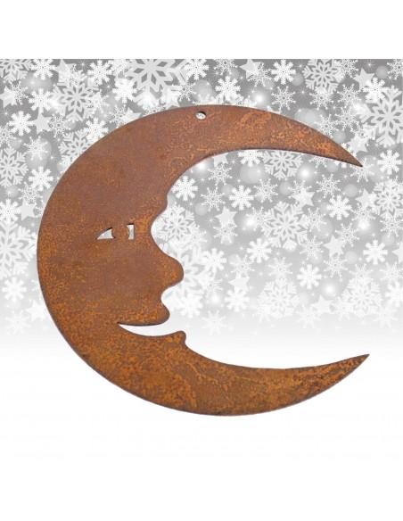 Gartendeko Rost Christbaumschmuck Mond, 8 cm hoch Edelrost