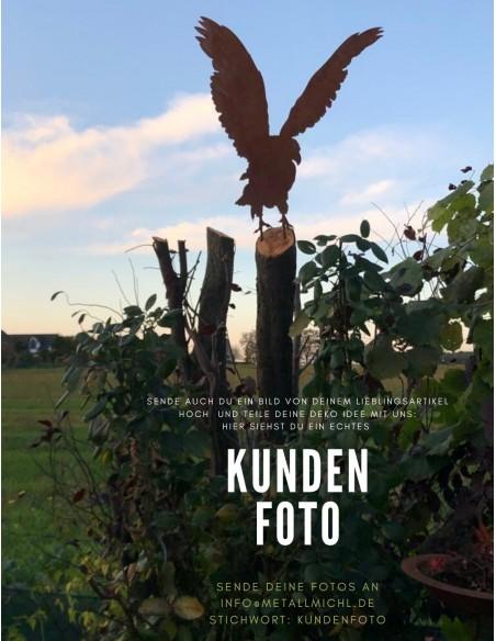 Kundenbild Gartenfigur Adler rostig aus Metall - Gartendeko Geschenkidee