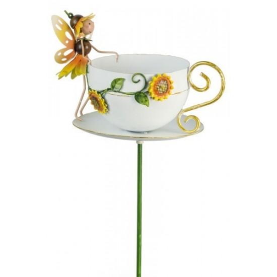 """Gatenstecker """"Honey"""" - Tasse für Vogelfutter mit Sonnenblumen Elfe"""