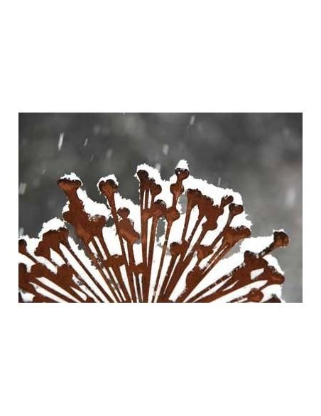 Gartendeko Rost Gartenstecker Allium im Winter - Winterdeko