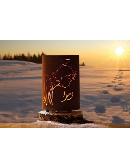 Windlicht Engel - Engelsflügel Kerzenhalter Windlicht betender Engel Edelrost  Höhe 39 cm Schönes betender Engel Windlicht aus M