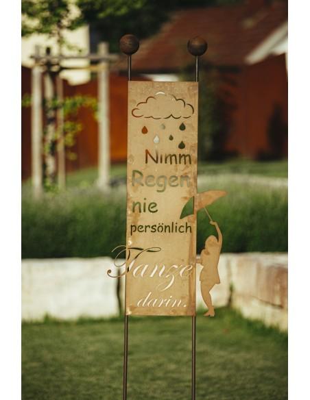 "Gartenstecker ""Nimm den Regen"" -  Höhe 205 cm"