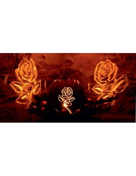 rostige Deko Kugelleuchte Motiv Rose schön Schattenprojektionen