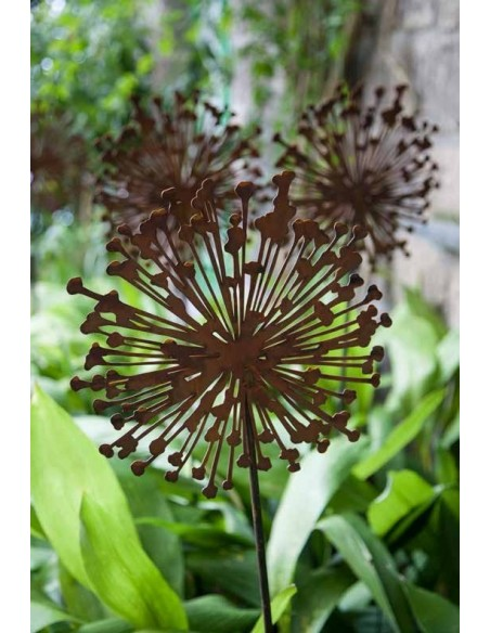 Blumen Gartenstecker Allium aus Metall mit Rostoptik
