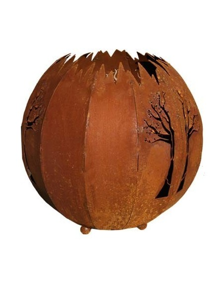 Gartenkugel als Lampe mit Baum Motiv