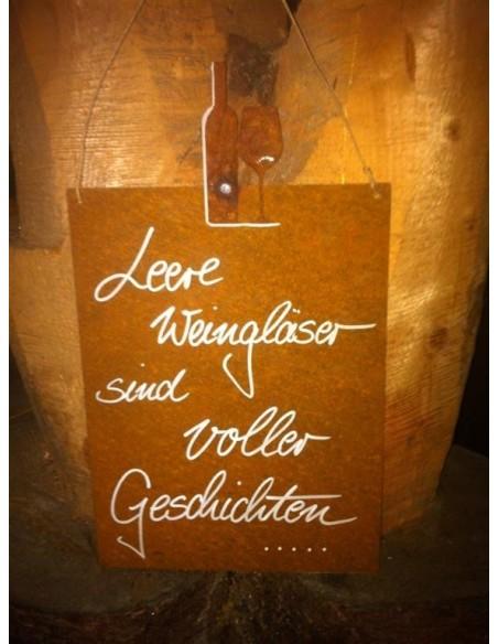 rostige Spruchtafeln Rostschild - Leere Weingläser sind voller Geschichten - 25 x 33 cm Edelrost-Wandbild Maße: Breite 25 Höhe 3