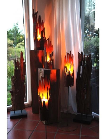Windlicht Treibholz -klein 43 cm - Edelrost Windlicht