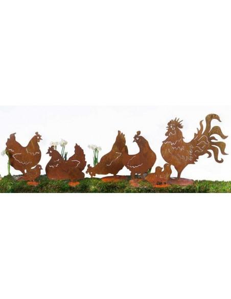 Gartendeko Hahn und Henne Huhn