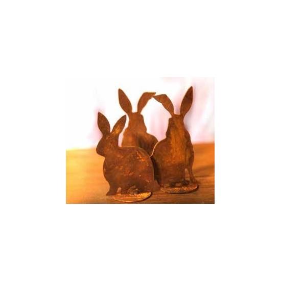 Rost Hasen 4er Set - 4 Stück Edelrost Hase als Gartendeko oder Wohndeko geeignet