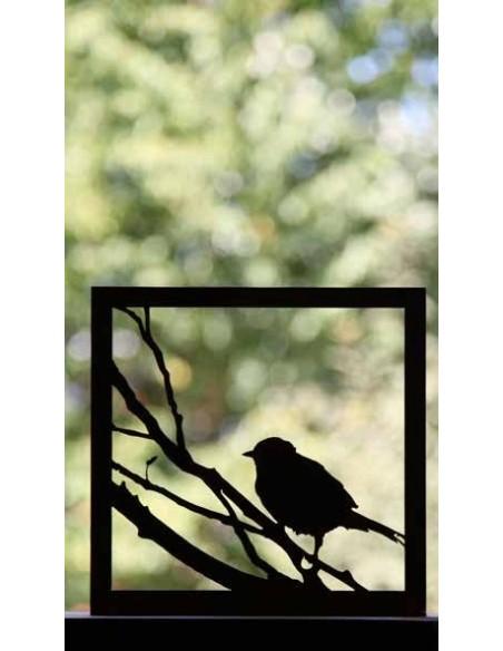 Edelrost Vogelbild 23 x 23 cm auf Platte